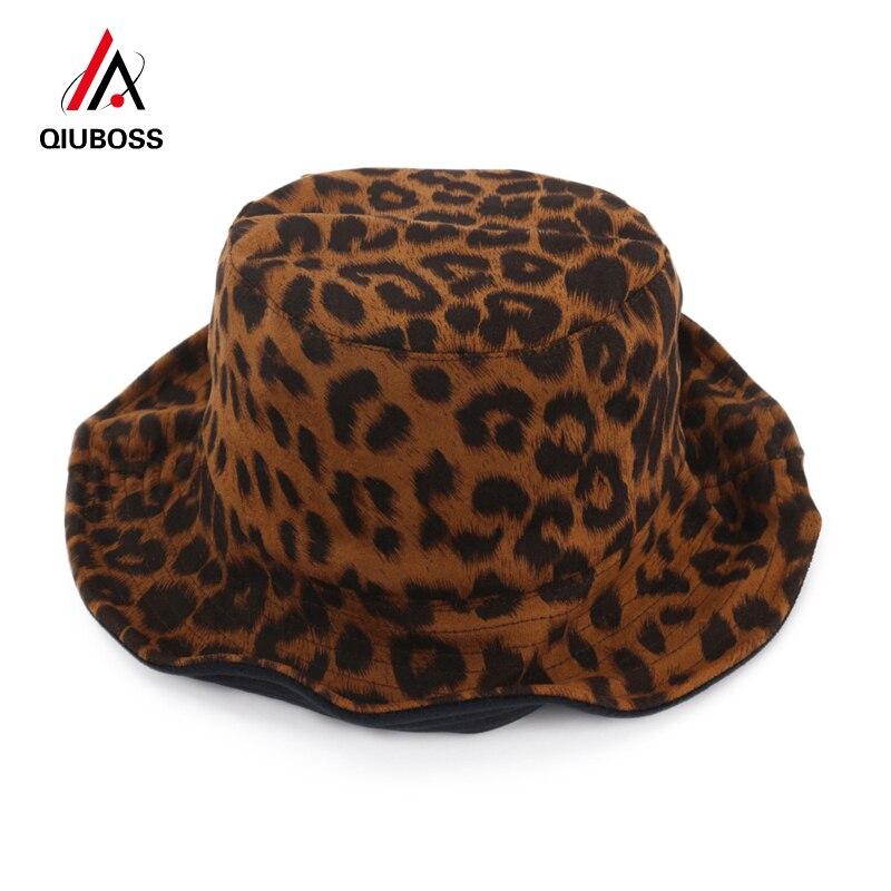 Qiuboss 2019 Frauen Leopard Gedruckt Eimer Hüte Doppelseitige Fischer Hut Faltbare Hut Kappe Fascinator Damen Kleid Hüte Sonnenhut Schrumpffrei Eimer-hüte