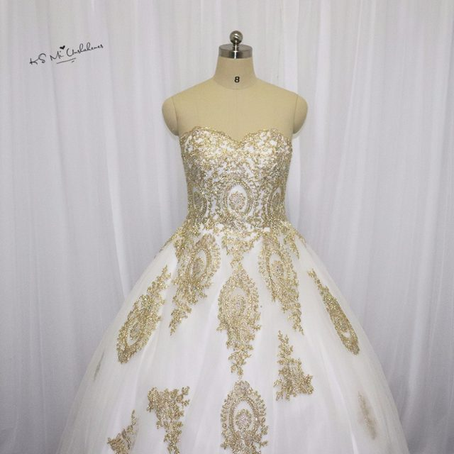 Online Shop White Gold Gothic Wedding Dress Lace Ball Gown Bride ...