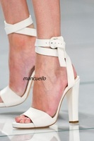 Concise Buckle Style Block Heel Sandals Fancy White PU Leather Open Toe Ankle Wrap Chunky Heel