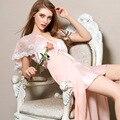 Sleepwear Rendas Splicing Camisola Das Mulheres do vintage Com Decote Em V Camison Sexy Mujer Plus Size Camisola Pijamas Sexy Vestido de Noite Do Vintage