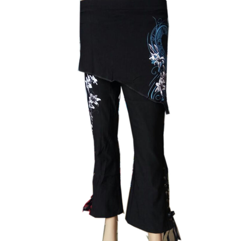 2017 Hot Brand New Women Sexy Long Trousers Fashion Flower Printed Side Stripe bandage Flare Pants Cotton Blends Black Pant