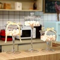 European Glass Candy Jar High feet Transparent Storage tank with Wedding dessert decoration candy snacks glass Bottles Home deco