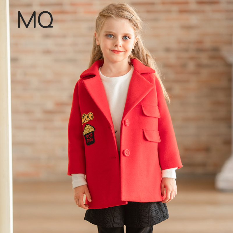MQ Girls Wool Blend Coat 2018 Winter Fashion Girl Clothing Outerwear Unicorn Cartoon Pattern Pocket Casual Jacket For Girls lapel pea coat in wool blend