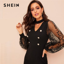 V Cut Out Neck Embroidered Sleeve Black Jumpsuit