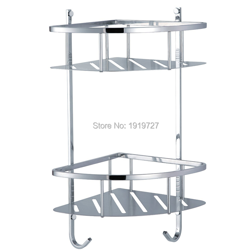 Factory Direct High Quality Wholesale Shower Corner Shelf Stainless Steel Caddy Bathroom Organizer Storage Dual Layer factory direct new caddy italics opening film ru ru ceramic sealing cans support custom logo