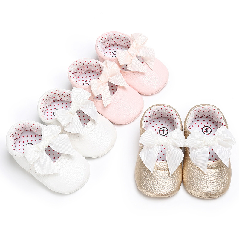 2018 Hot Selling Toddler Infant Baby Leather Shoes PU Bowknot Princess Toddler Shoes Slip Into Prewalkers Pink White Gold 0-18 M