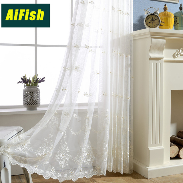 Acrylic Curtain Embroidered Lace Sheer Window Valance Tulle Curtain Panel Kitchen Windows Drapes Organza Tulle Fabric