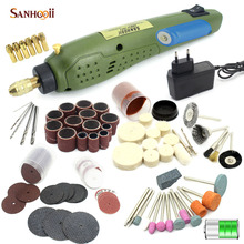 SANHOOII 110V/220V Rechargeable Mini Electric Rotary Drill Grinder Tool Polish Sanding Tool Set Kit Accessories for Dremel US/EU цена