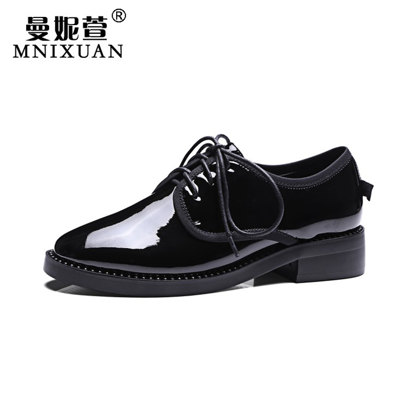 Spring womens casual vintage round toe women flats oxford shoes ladies 2017 autumn patent leather lace up rhinestone big size 10 plus size 34 41 black khaki lace bow flats shoes for womens ds219 fashion round toe bowtie sweet spring summer fall flats shoes