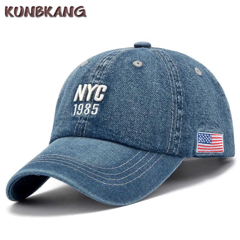 91c079b61ef New Brand NYC Denim Baseball Cap Men Women Embroidery Letter Jeans Snapback  Hat Casquette Summer Sports