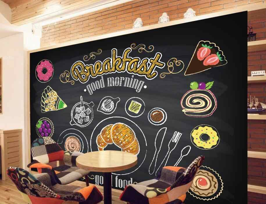 Papel pintado de restaurante personalizado, pintado a mano café desayuno pan, murales 3D para café restaurante FONDO DE PVC para pared papel tapiz