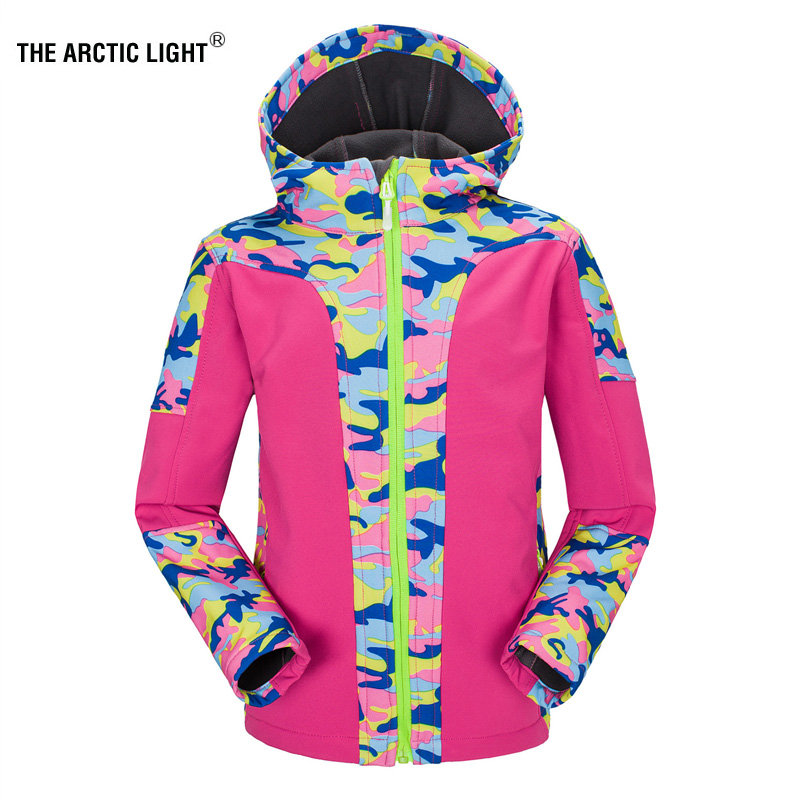 Hiking Jackets 120-160cm Kids Students Outdoor 2in1 Warm Coat Camo Skiing Climbing Camping Hiking Windbreaker Children Clothes Trekking Jacket