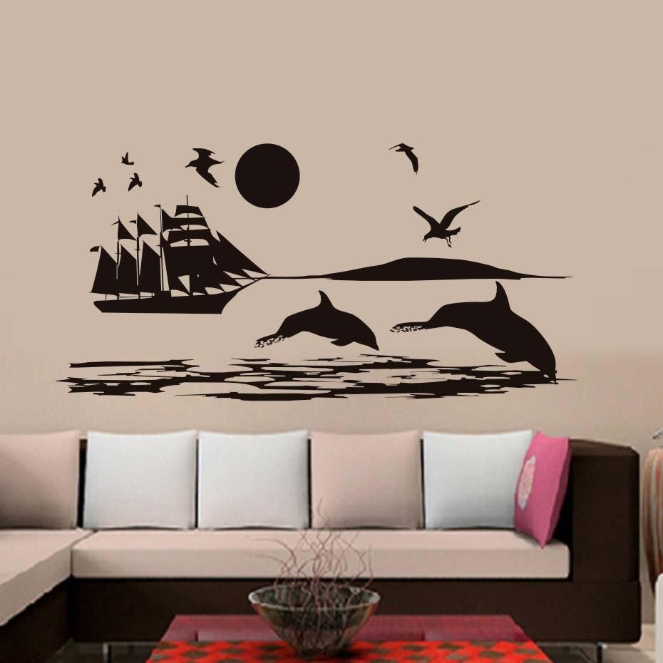 Gabbiani shark nave sul mare adesivi murali paesaggio for Adesivi sul muro
