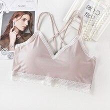 Sexy Sling Lace Padded Bra Top Cross Strap Beauty Back Tube One Piece Underwear