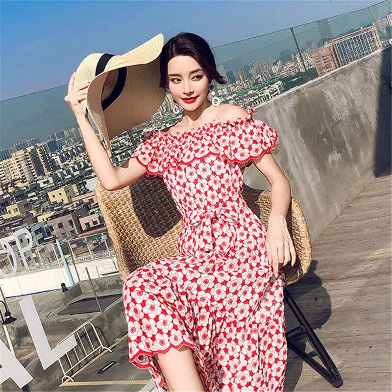 Été 2019 Tempérament Photo Manches Slim Épaule Volants Color De Un Az060 Robe À Femelle Imprimer Mot Nouveau Rétro Courtes Mode Femmes VpzMSU