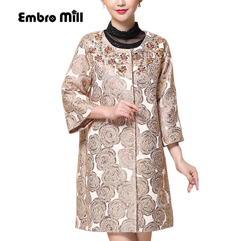 Vintage Royal Embroidery Autumn And Winter Coats Woman Windbreaker Chinese Style Lady Elegant Beading Trench Coat Female S-4XL