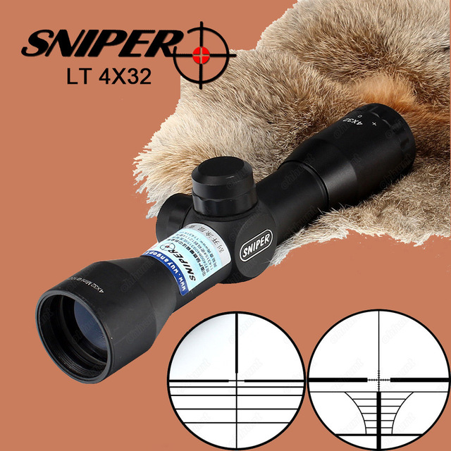 Sniper LT 4X32 Hunting Optics Sights Tactical Crossbow Riflescope 1 Inch Wire Reticle with 2 Kind of Rings for Hunt Rifle Scope