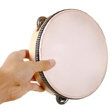 """8"""" Tambourine Music Learner Tamborine Round Drum Percussion Festival School Gift for Party sheepskin drumhead wooden ring"""