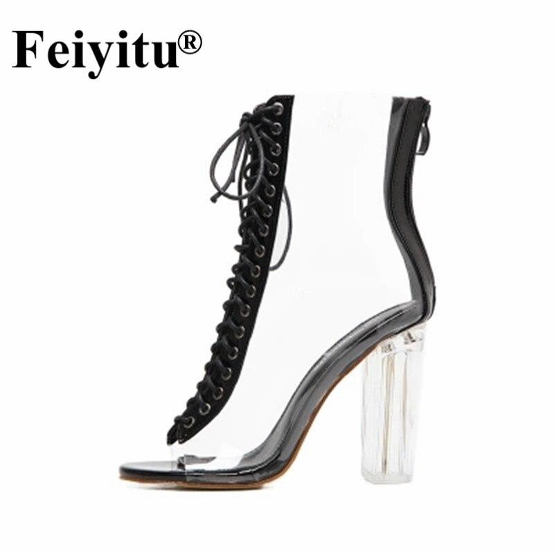 Feiyitu Women Sandals Ankle Strap Perspex High Heels PVC