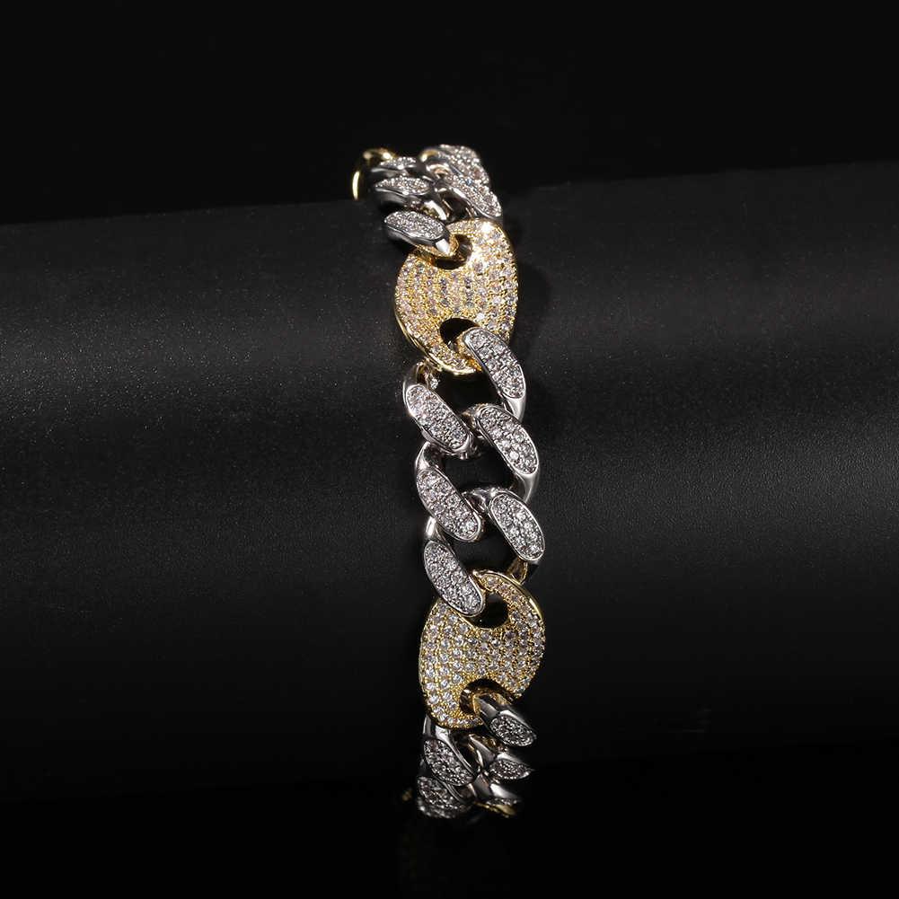 UWIN mieszane kolor moda kubański linki bransoletka męskie 12mm luksusowe mikro utorować ustawienie hip hop bransoletki biżuteria Drop Shipping