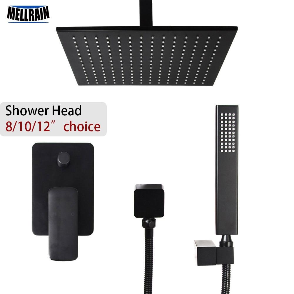 Qualité laiton noir 2 voies plafond pluie douche ensemble 8 10 12 pouces laiton tête de douche choix salle de bain bain robinet d'eau mélangeur