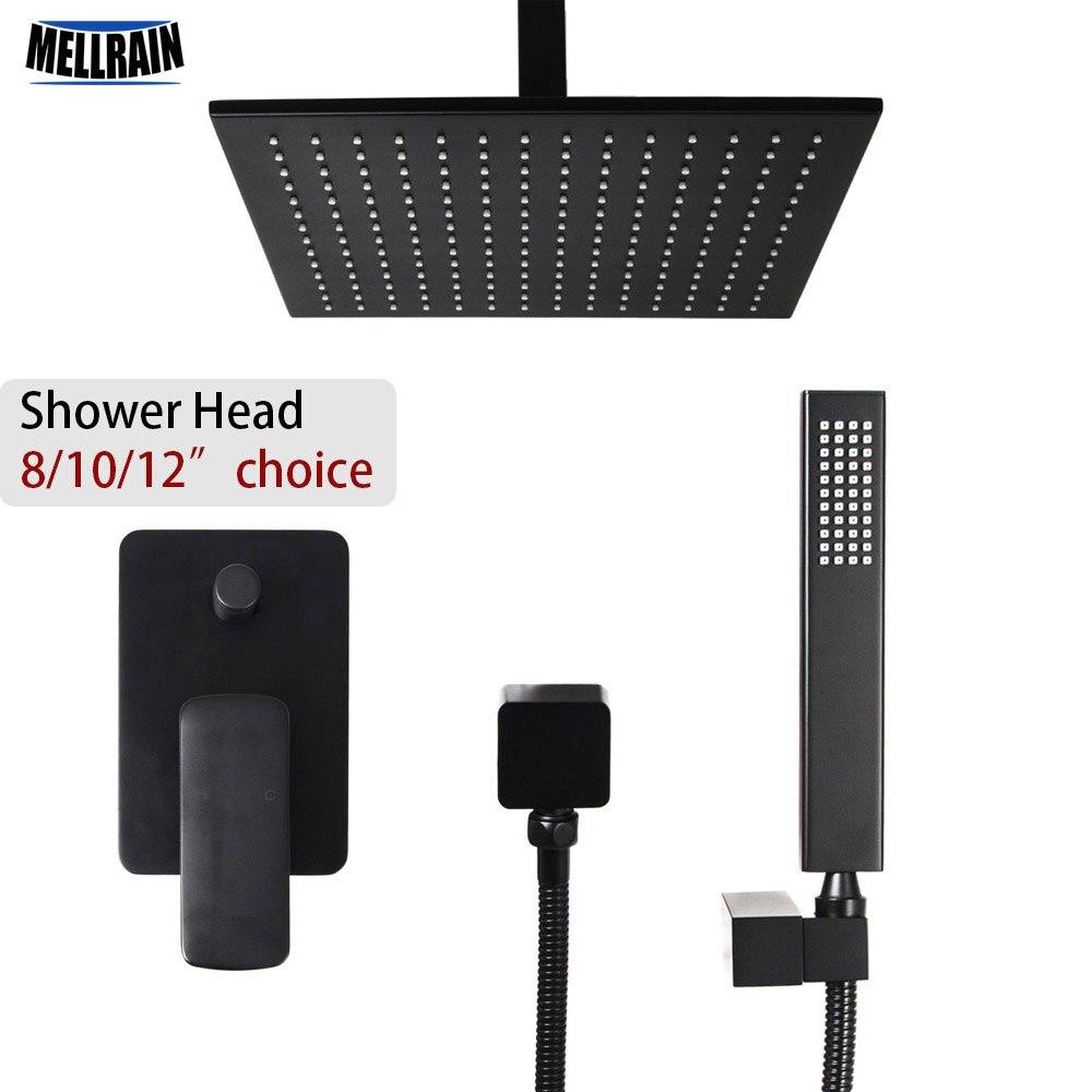 Quality brass black 2 ways ceiling rain shower set 8 10 12 inch brass head shower choice bathroom bath faucet water mixer