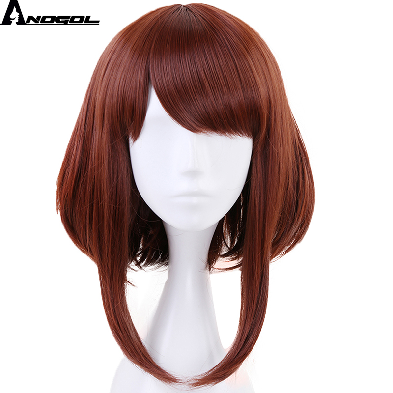 Anogol My Hero Academia OCHACO URARAKA Auburn Orange Short Straight Bob Synthetic Cosplay Wig For Role Play Halloween Costume