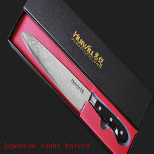 "LD 9 "" chef knife 73 layers Japanese Damascus steel kitchen knife senior meat/vegetable knife wood handle free shipping"
