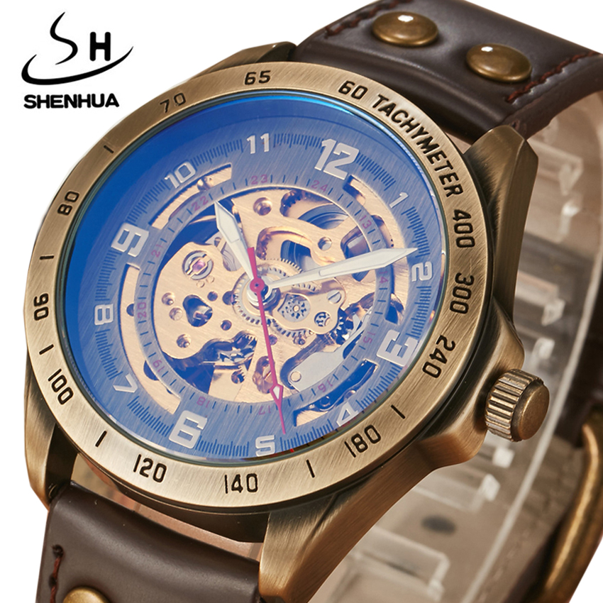 Retro Mechanical Watches Men Antique Bronze Skeleton Automatic Steampunk Leather Wristwatches Clock Male Relogio Masculino 2018 retro hollow skeleton automatic mechanical watches men s steampunk bronze leather brand unique self wind mechanical wristwatches