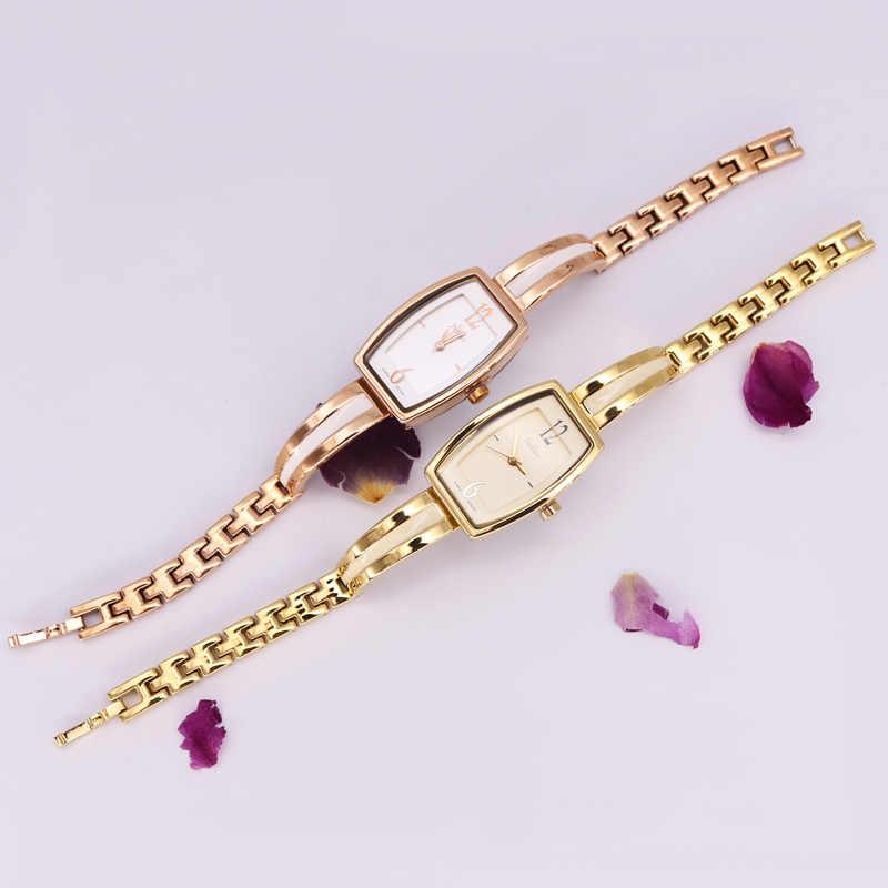 Reloj Retro Simple para mujer Japón Mov't Horas Reloj de moda fina vestido cadena pulsera niña regalo de Navidad caja de julio