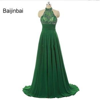 Baijinbai Sexy Red A Line Long Green Prom Dresses Halter Neck Backless Beading Crystal Vestido de festa Party Evening Dresses