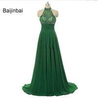 Baijinbai Sexy Red A Line Long Xanh Prom Dresses Halter Neck Backless Beading Pha Lê Vestido de festa Đảng Evening Dresses