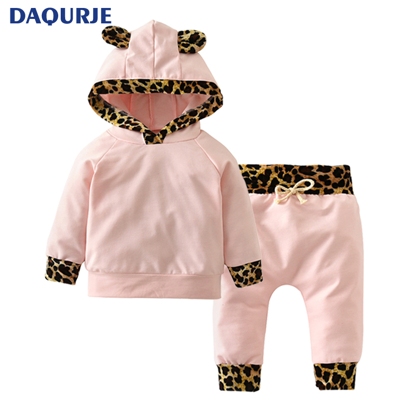 Newborn Baby Girl Clothes 2017 Autumn Pink Leopard Hooded Tops+Trousers 2PCS Suits roupa Cute Small Ears infant clothing set autumn cute cartoon baby girl clothes newborn baby coral velvet pink rompers with rabbit ears baby floral two layered onesie