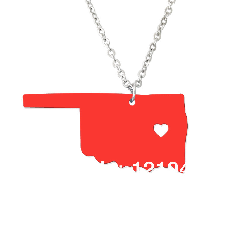 Personalized State Necklace - I heart Oklahoma Necklace - Custom Map Pendant - Acrylic State Charm - Map necklace