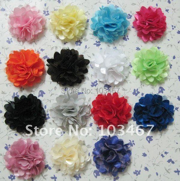 """60pcs/lot Wholesale 21 colors 2"""" Mini Satin Mesh Flowers"""