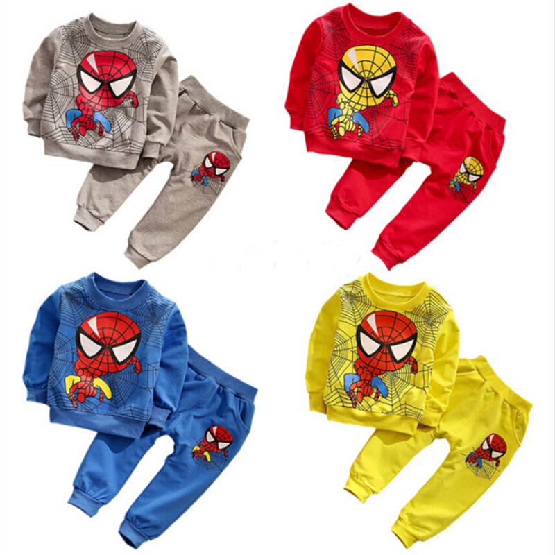 New 2016 Spring Spiderman Kids Boys Clothes Set Fashion Kids Tracksuit Toddler Boy Hoodies and Pants 2pcs 6011901