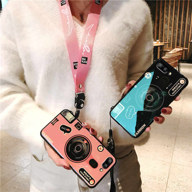 Blue Light Case For Huawei Honor 10 10i 20 V20 Soft TPU Camera Cover For Huawei P Smart 2019 Plus With Long Strap