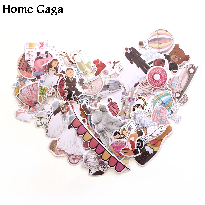 Homegaga 68pcs Wedding Theme 90s Print Home Decor Wall Notebook Luggage Laptop Bicycle Scrapbooking Album Decal Stickers D1340