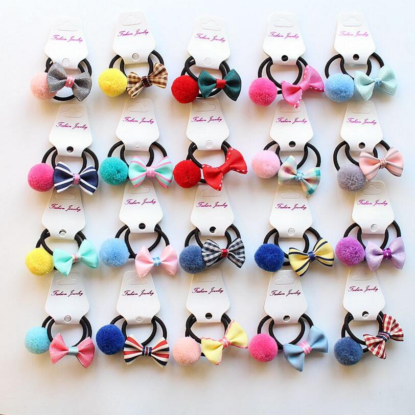 16-20PCS Children girl Hair accessories toddlers Kid Elastic Rubber Hair Bands hair bow pompom Headband hair ties gum headwear