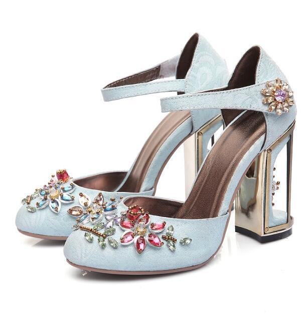 ФОТО Newst high heel shoes sky blue velvet ankle strap woman dress shoes crystal embellished wedding heels thick heels pumps