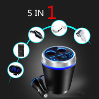 Cup Bluetooth Car Charger Three USB Mobile Phone Car Charger Handsfree FM Transmitter MP3 One Tow Two Cigarette Lighting Device