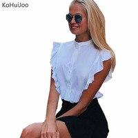 KoHuiJoo Europe 2018 Summer Short Sleeve Shirt Women Puff Sleeve Casual Elegant White Blouses Lady Fashion