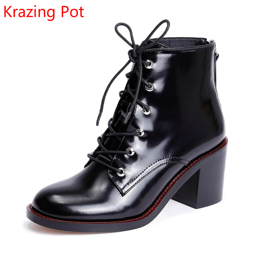 2018 New Arrival Round Toe Lace Up Thick Heel Fashion Motorcycle Boots Runway Winter Shoe Handmade Casual Women Ankle Boots L7f1 front lace up casual ankle boots autumn vintage brown new booties flat genuine leather suede shoes round toe fall female fashion