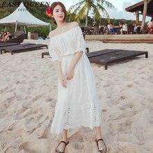 Summer Long Bare Shoulder Dress Elegant Sleeve Short Summer Beach Dress Slash Neck Women Evening Party Dress NN0285 cE