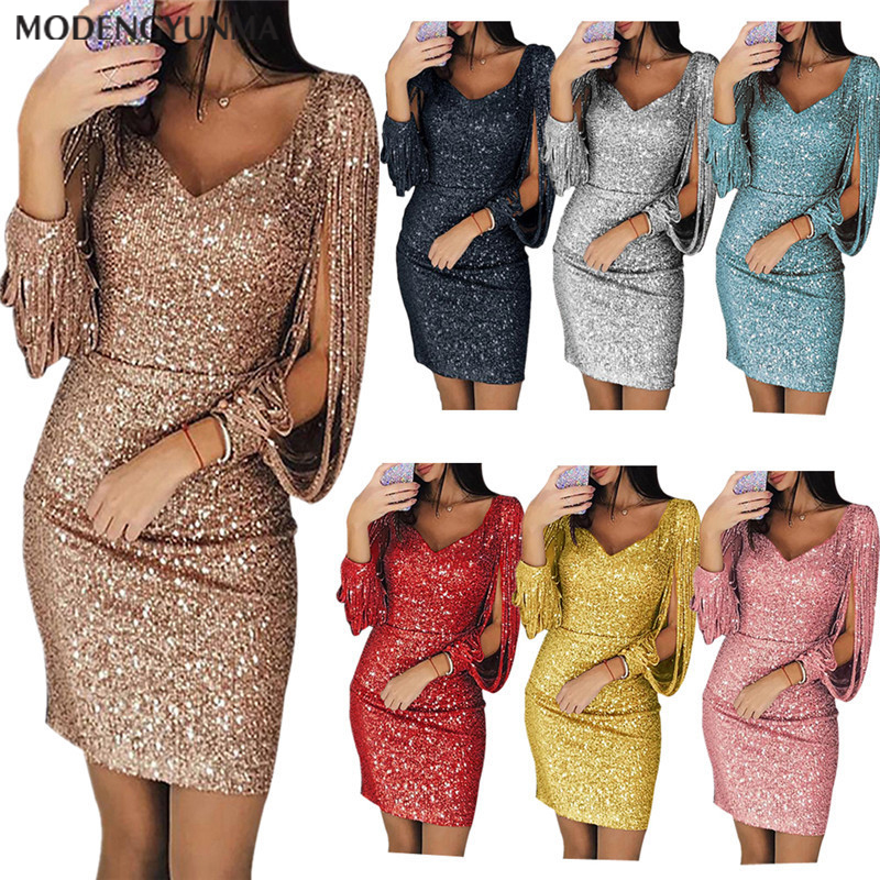 Fashion Women's Solid Color Sequins V-neck Simple Nightclub Stitching Shiny Round Neck Sheath Summer Dress Female Tassel Dresses