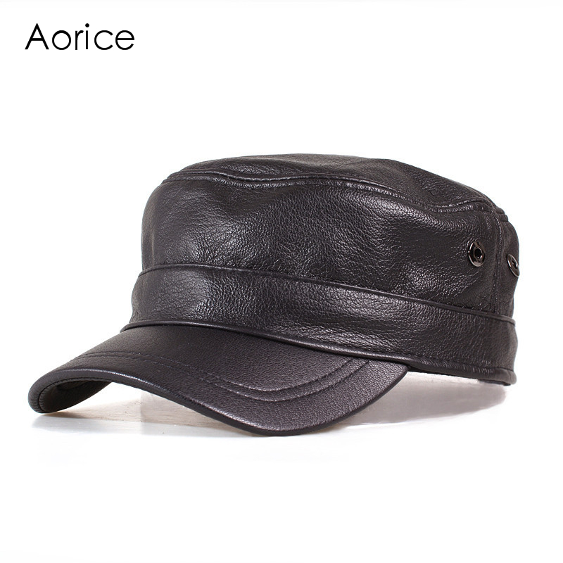 HL153-B  genuine leather men baseball cap hat  high quality men's real sheep skin leather adult solid army hats caps genuine leather peak baseball cap hip hop hats men s winter outdoor thick warm ear protection hat elderly leather cap b 7206