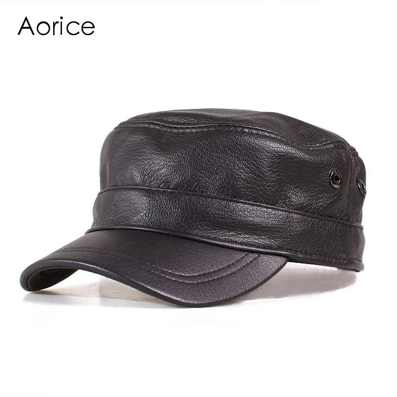 HL153-B  genuine leather men baseball cap hat  high quality men's real sheep skin leather adult solid army hats caps брюки weekend max mara weekend max mara we017ewtmp42