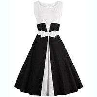 Women Sleeveless Formal Party Bowknot Dress 50s 60s Vintage Retro Pinup Dress Plus Size 4XL Midi Patchwork Dress Summer Clothes
