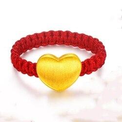 Yeni 999 Saf 24 K Sarı Altın 3D 9*7mm Zarif Aşk Kalp kadın Ince Şanslı Örme halka