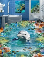 Custom mural 3d flooring picture pvc self adhesive wallpaper Dolphin fish coral home decor painting 3d wall murals wallpaper